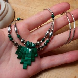 Jewelry - Sterling liquid silver and malachite necklace